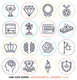 Awards and achievements line icons set. Vector collection of award symbols & objects Stock Photo