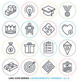 Awards and achievements line icons set Stock Photography