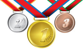 Awards as medals - gold, silver and bronze. The abstract of Medals in ai versions (ai/10), vector format Royalty Free Stock Photos