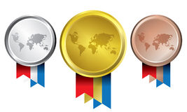 Awards as medals - gold, silver and bronze. The abstract of Medals in ai versions (ai/10), vector format Stock Image