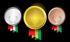 Awards as medals - gold, silver and bronze. The abstract of Medals in ai versions (ai/10), vector format Stock Photography