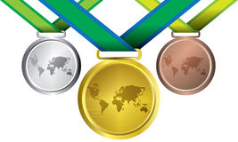Awards as medals - gold, silver and bronze. The abstract of Medals in ai versions (ai/10), vector format Stock Images