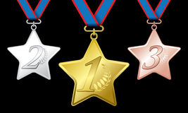 Awards as medals - gold, silver and bronze Stock Images