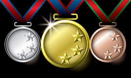 Awards as medals - gold, silver and bronze. The abstract of Medals in ai versions (ai/10), vector format Stock Photos