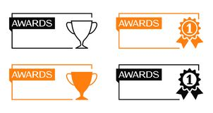 Awards banners with cup and medal icons Royalty Free Stock Images