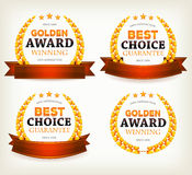 Awards Banners, Ribbons And Laurel Leaves Royalty Free Stock Photos