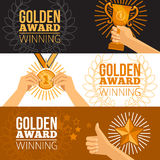 Awards Banners Set. Awards horizontal banners set with cup star and medal flat  vector illustration Royalty Free Stock Photo