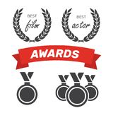 Awards for best film. Award nomination vector. Medal award for b. Est movie Royalty Free Stock Photos
