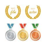 Awards for best film. Award nomination vector. Medal award for b. Est movie Stock Photography