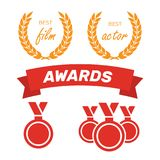 Awards for best film. Award nomination vector. Medal award for b. Est movie Royalty Free Stock Photo
