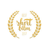 Awards of best short film with wreath and 2017 text. Golden color cinema illustration isolated on the white background. Royalty Free Stock Photo