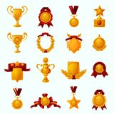 Awards Cartoon Set. Golden award cups and champion shields with ribbons cartoon icons set isolated vector illustration Royalty Free Stock Images