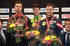 Podium of the Men`s European Top 16 stock photo