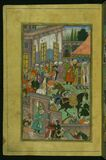 An awards ceremony in the Sultan Ibrāhīm's court before being sent on an expedition to Sambhal, from Illuminated manuscript Ba Royalty Free Stock Image