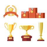 Awards of champion golden cup or goblet prize. Winner medal with star or champion laurel ribbon and victory pedestal. Vector isolated badge icons set vector illustration
