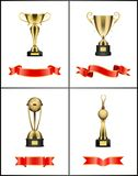 Awards with Colorful Ribbons Vector Illustration. Awards with colorful ribbons icons. Prizes standing on pedestals with red stripes banners. Trophies globe and vector illustration
