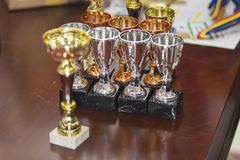 Awards coupes on a table. At a event Stock Image