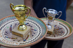 Awards. Coups and traditional plates awards at Cozia mountain race, Romania Stock Photos