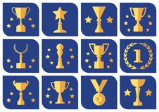 Awards and cups on a blue background, vector set stock illustration