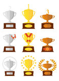 Awards cups icons set. Gold, silver, bronze. Stock Image