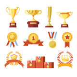 Awards cups, winner medals or champion ribbons vector isolated icons set. Awards of champion golden cup or goblet prize, winner medal with star or champion Stock Photos