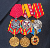 Awards and different medals on the russian navy uniform Stock Image