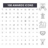 Awards editable line icons, 100 vector set, collection. Awards black outline illustrations, signs, symbols stock illustration