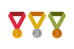 Awards for first, second, third places. Gold, silver, bronze. Gold medal. Silver medal. Bronze medal. Awards for first, second and third place Stock Image