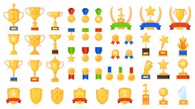 Free Awards Flat. Different Sport Trophy, Golden Cups Medals And Laurel Wreaths And Prizes, Winners Star Symbols Design Royalty Free Stock Photo - 171308595