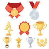 Awards, gold medals and cups as prizes in competitions and competitions. Awards and trophies icon in set collection on. Cartoon style vector symbol stock web Royalty Free Stock Photo
