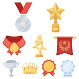 Awards and trophies icon in set collection. Awards, gold medals and cups as prizes in competitions and competitions. Awards and trophies icon in set Royalty Free Stock Photos