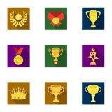 Awards, gold medals and cups as prizes in competitions and competitions. Awards and trophies icon in set collection on Stock Images