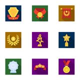 Awards, gold medals and cups as prizes in competitions and competitions. Awards and trophies icon in set collection on Stock Photo