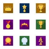 Awards, gold medals and cups as prizes in competitions and competitions. Awards and trophies icon in set collection on Royalty Free Stock Image
