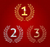 Awards golden emblems. Illustration of 1st; 2nd; 3rd awards golden emblems Royalty Free Stock Images
