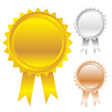 Awards icon set. Gold, silver and bronze award ribbons Royalty Free Stock Photo