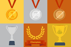 Awards icon set stock illustration