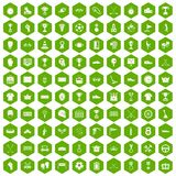 100 awards icons hexagon green. 100 awards icons set in green hexagon isolated vector illustration Stock Photos