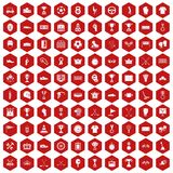 100 awards icons hexagon red. 100 awards icons set in red hexagon isolated vector illustration Royalty Free Stock Image