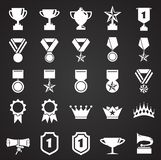 Awards icons set on black background for graphic and web design. Simple vector sign. Internet concept symbol for website stock illustration