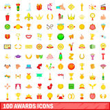 100 awards icons set, cartoon style. 100 awards icons set in cartoon style for any design vector illustration Royalty Free Stock Photos