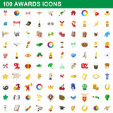 100 awards icons set, cartoon style. 100 awards icons set in cartoon style for any design vector illustration Vector Illustration