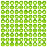 100 awards icons set green. 100 awards icons set in green circle isolated on white vectr illustration Vector Illustration