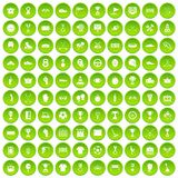 100 awards icons set green circle. Isolated on white background vector illustration stock illustration