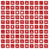 100 awards icons set grunge red. 100 awards icons set in grunge style red color isolated on white background vector illustration stock illustration