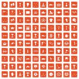 100 awards icons set grunge orange. 100 awards icons set in grunge style orange color isolated on white background vector illustration Royalty Free Stock Image