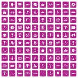 100 awards icons set grunge pink. 100 awards icons set in grunge style pink color isolated on white background vector illustration Royalty Free Stock Image