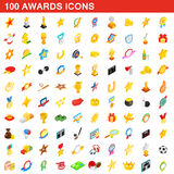 100 awards icons set, isometric 3d style. 100 awards icons set in isometric 3d style for any design vector illustration Stock Image