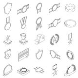 Awards icons set. In isometric 3d style isolated on white background Royalty Free Stock Photo