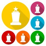 Awards icons set with long shadow Stock Images